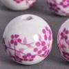 Perle en céramique Fleurie ronde Rose 12mm x1