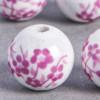 Perle en céramique Fleurie ronde Rose 10mm x1