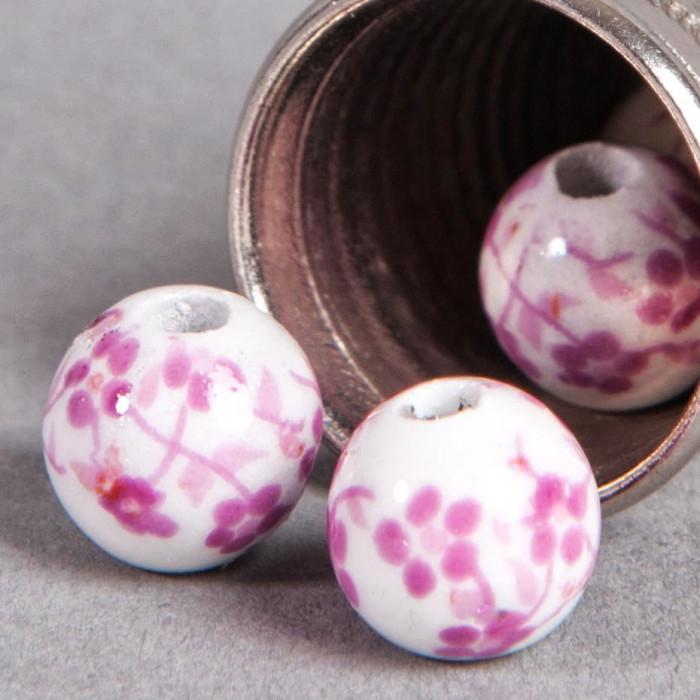Perle en céramique Fleurie ronde Rose 8mm x1