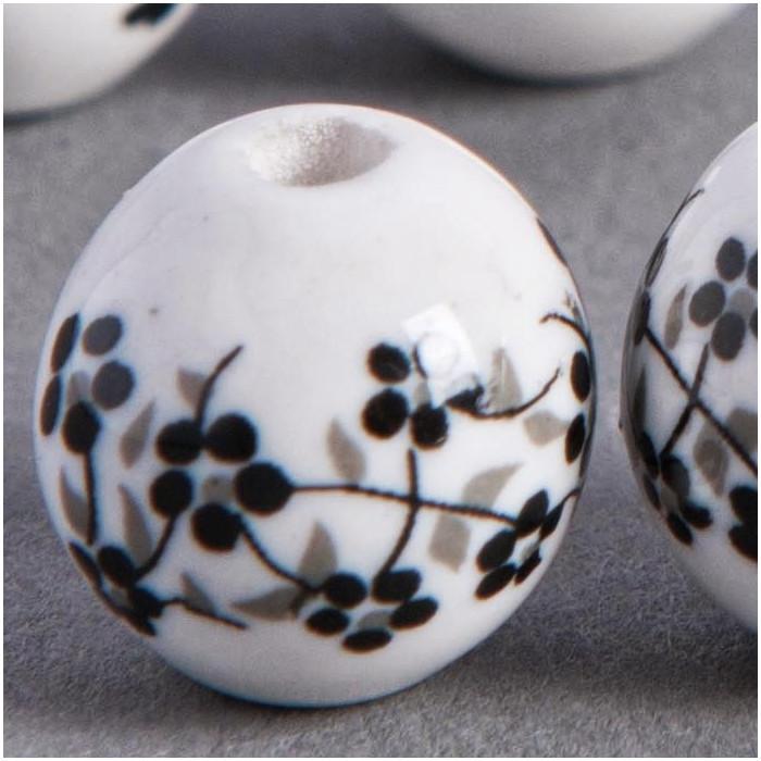 Perle en céramique Fleurie ronde Noire 20mm x1