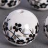 Perle en céramique Fleurie ronde Noire 16mm x1