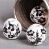 Perle en céramique Fleurie ronde Noire 8mm x1