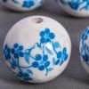 Perle en céramique Fleurie ronde Bleu turquoise 16mm x1