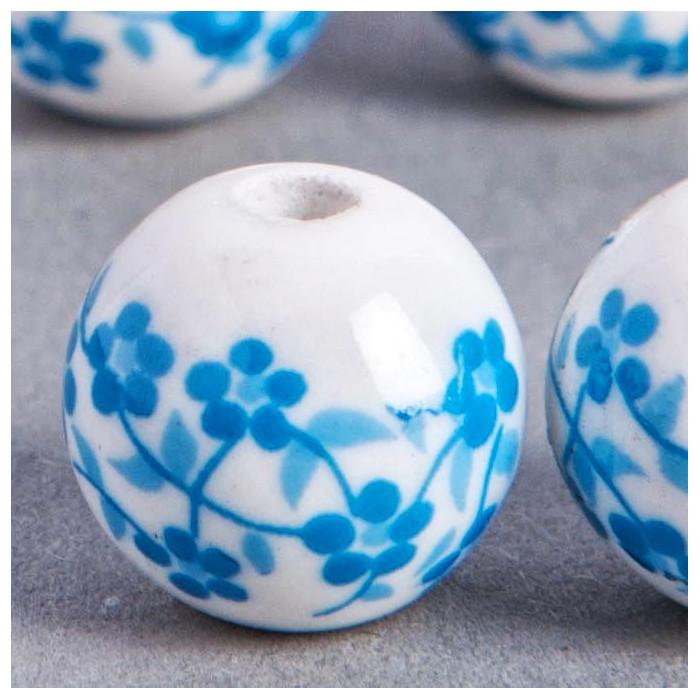 Perle en céramique Fleurie ronde Bleu turquoise 10mm x1