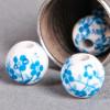 Perle en céramique Fleurie ronde Bleu turquoise 8mm x1