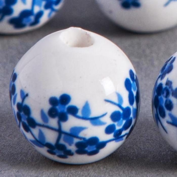 Perle en céramique Fleurie ronde Bleu roi 20mm x1