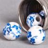 Perle en céramique Fleurie ronde Bleu roi 8mm x1