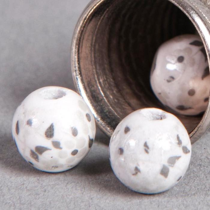 Perle en céramique Fleurie ronde Blanche 8mm x1