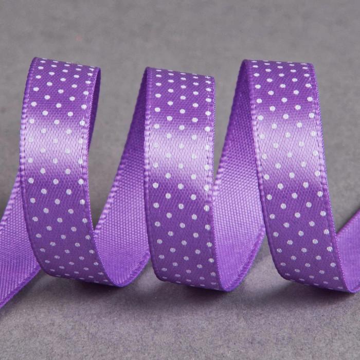 Ruban satin fantaisie 10 mm pois - violet x 10 cm