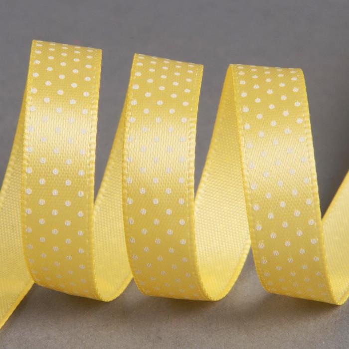 Ruban satin fantaisie 10 mm pois - jaune x 10 cm