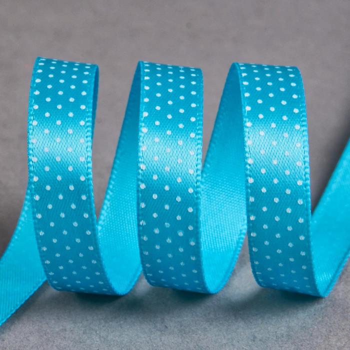 Ruban satin fantaisie 10 mm pois - turquoise x 10 cm
