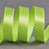 Ruban satin fantaisie 10 mm pois - vert x 10 cm
