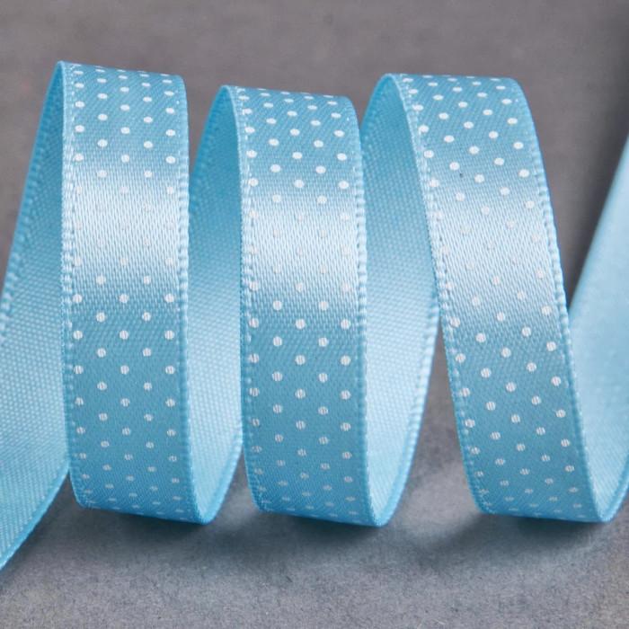 Ruban satin fantaisie 10 mm pois - bleu x 10 cm