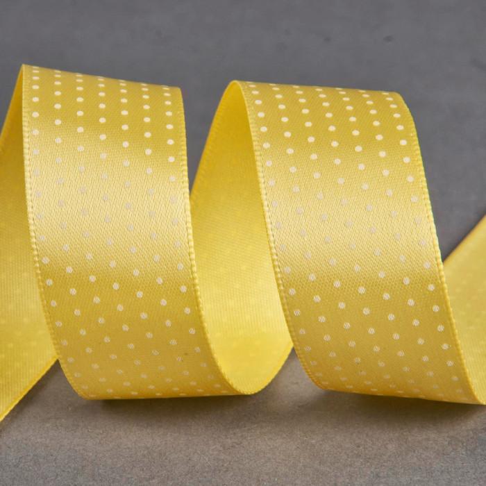 Ruban satin fantaisie 20 mm pois - jaune x 10 cm