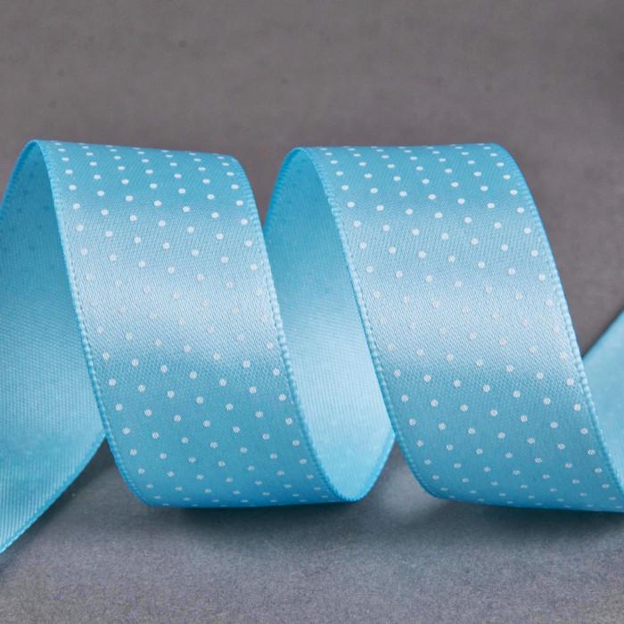 Ruban satin fantaisie 20 mm pois - bleu x 10 cm
