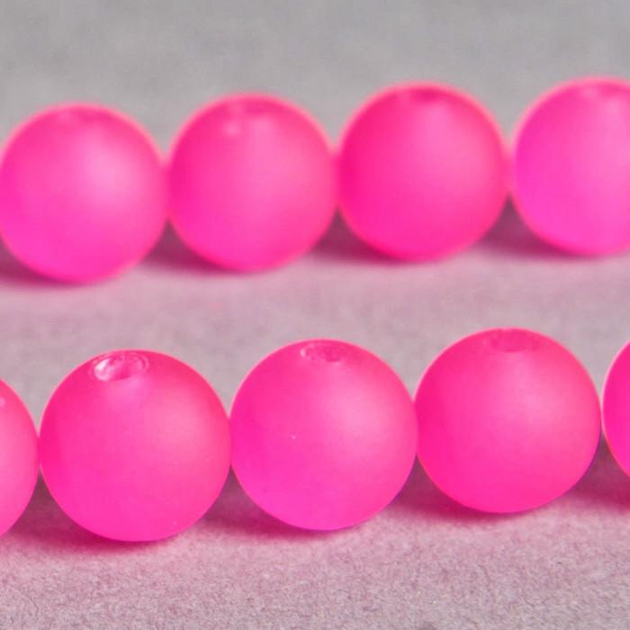 Perle rose fluo transparente en résine 8mm x8