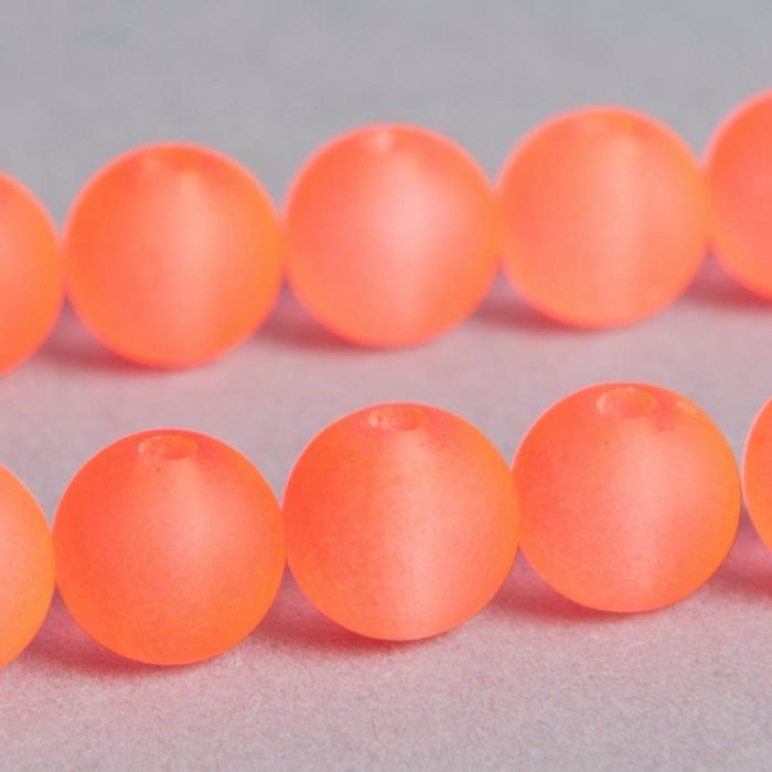 Perle orange fluo transparente en résine 8mm x8