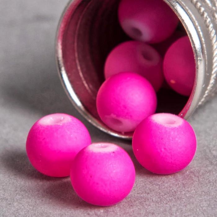 Perle rose fluo en résine 6mm x10