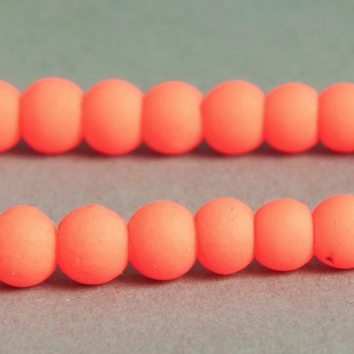 Perle fluo orange foncé en résine 4mm x20
