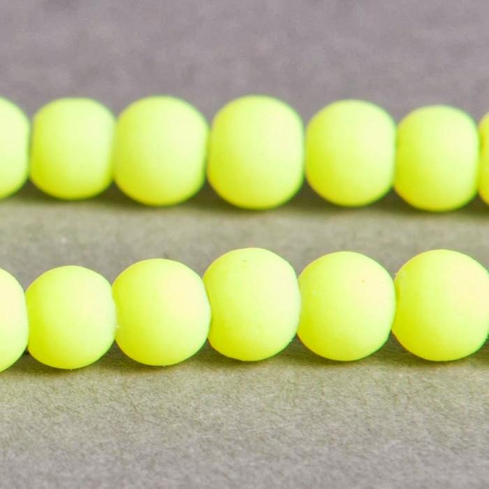 Perle fluo jaune en résine 4mm x20