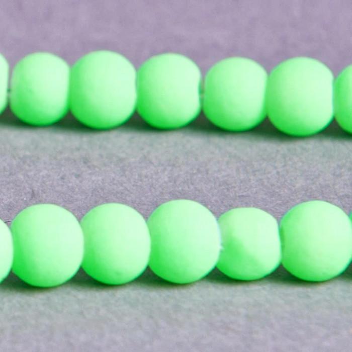 Perle  fluo verte en résine 4mm x20