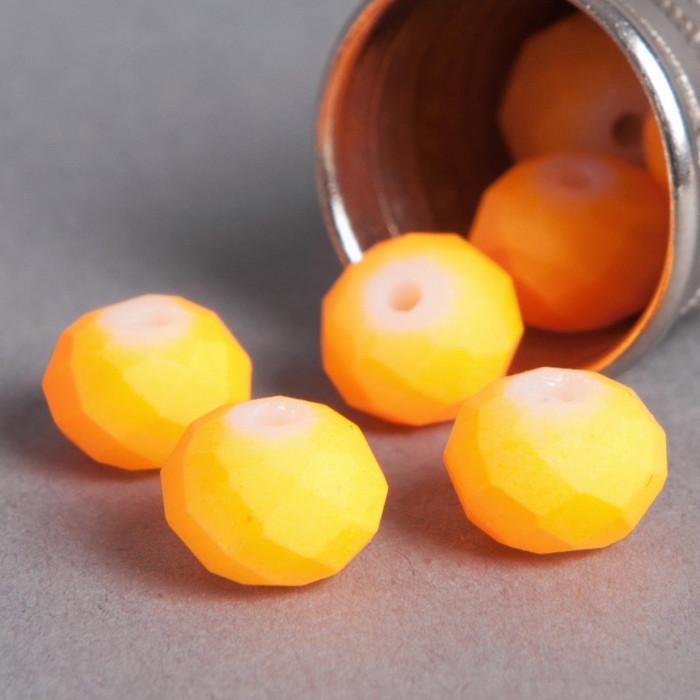Perle orange fluo aplatie à facette 6mm x1