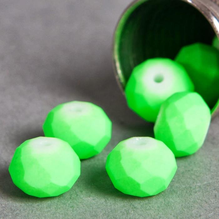 Perle vert fluo aplatie à facette 6mm x1