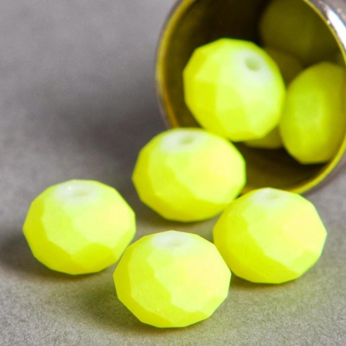 Perle jaune fluo aplatie à facette 6mm x1