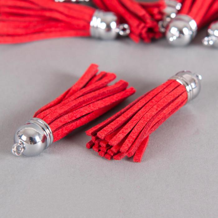 Pendentif pompon metal et suedine 58mm rouge x1