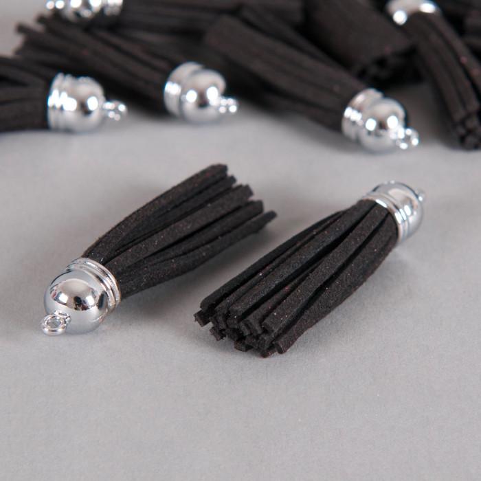 Pendentif pompon metal et suedine 58mm noir x1