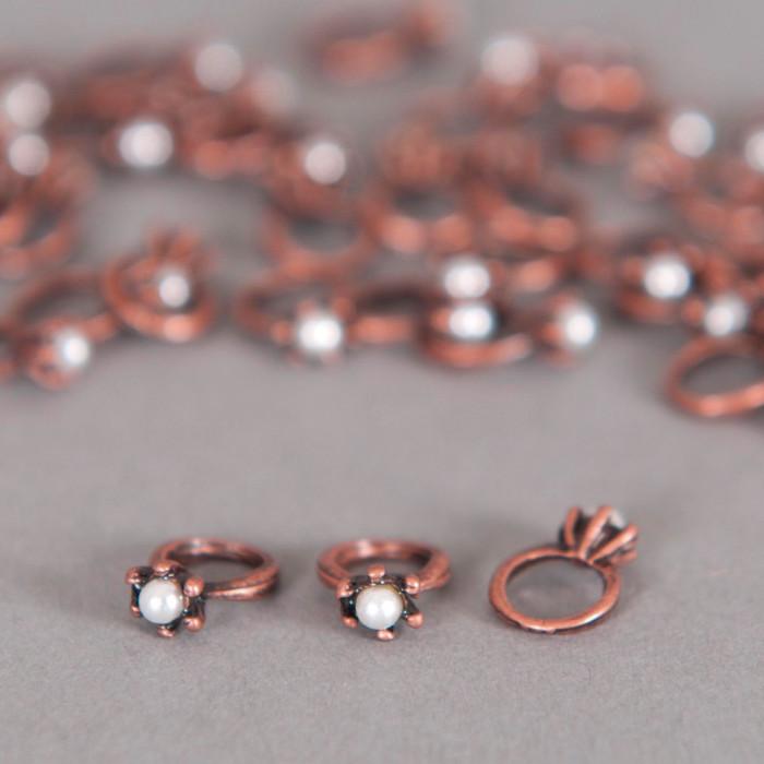 Breloque bague avec sa petite perle cuivre x1