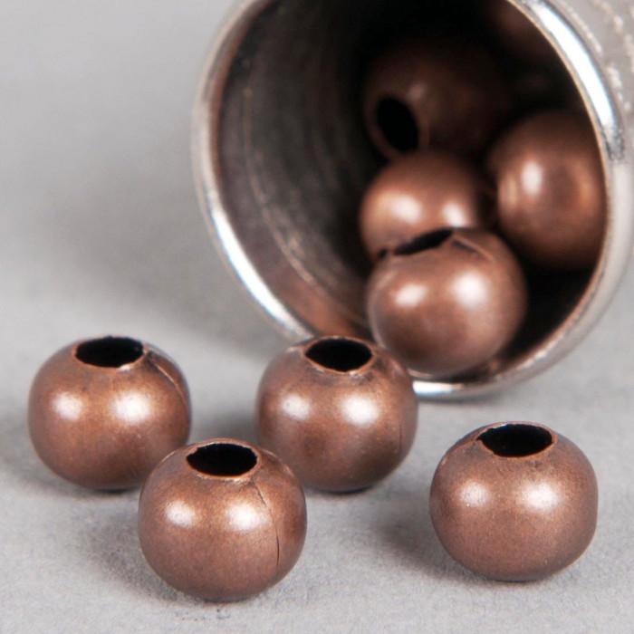 Perle en métal unie 6mm cuivre x10