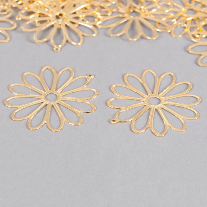 Pendentif filigrane fleurs ronde 48mm doré x1