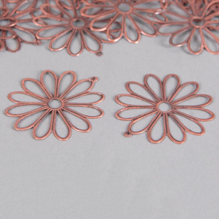Pendentif filigrane fleurs ronde 48mm cuivre x1