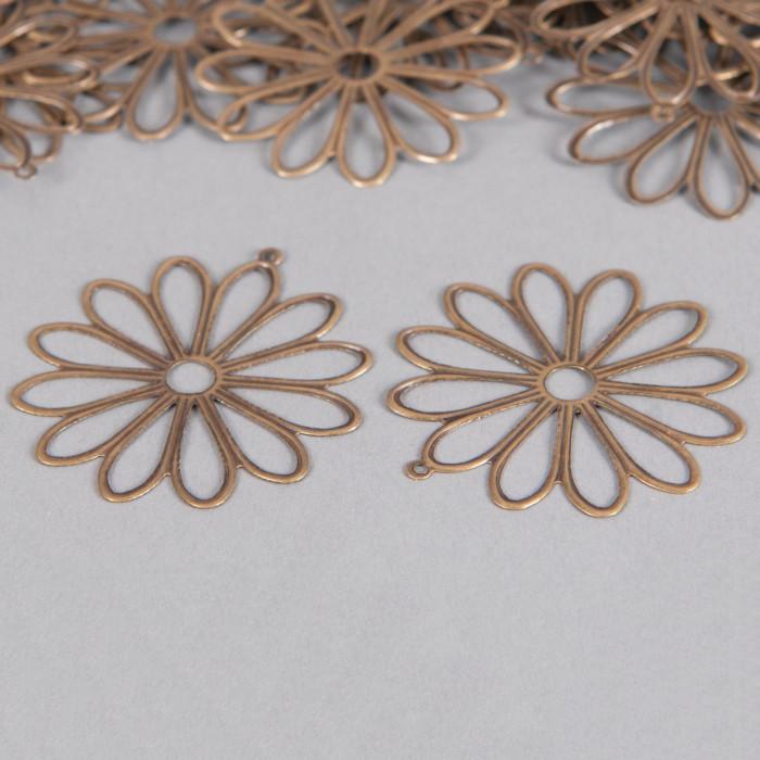 Pendentif filigrane fleurs ronde 48mm bronze x1