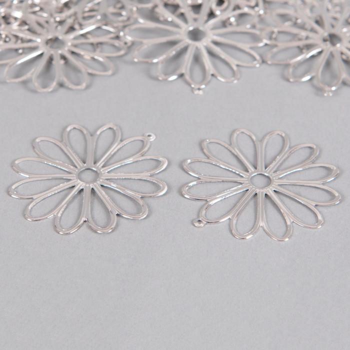 Pendentif filigrane fleurs ronde 48mm argent x1
