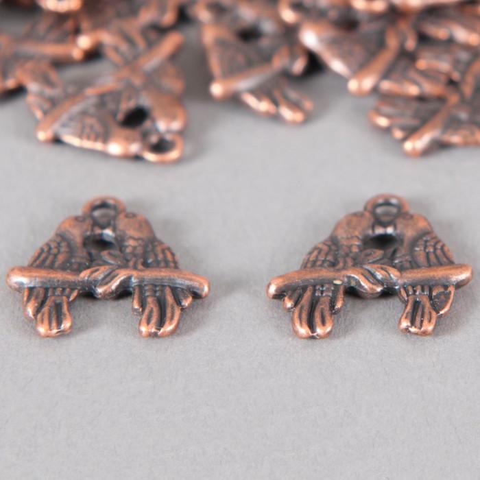Breloque bisous d'oiseaux 18mm cuivre x1