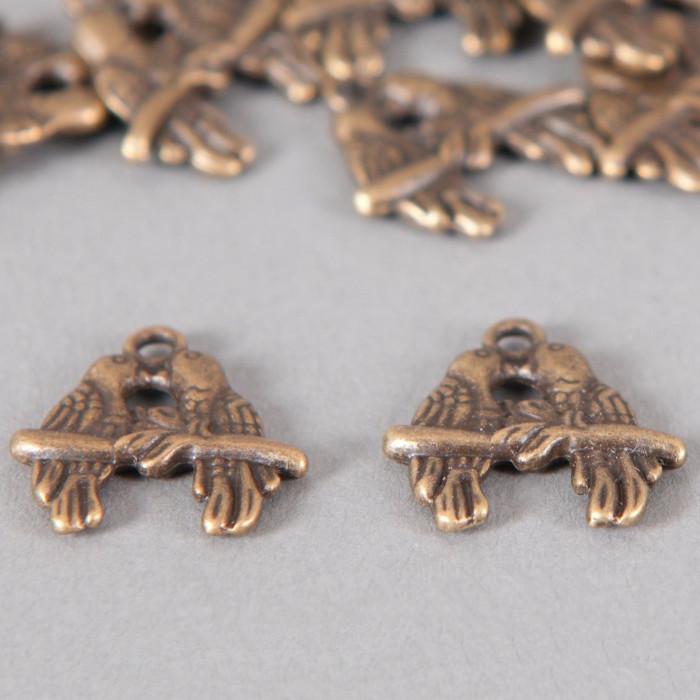 Breloque bisous d'oiseaux 18mm bronze x1