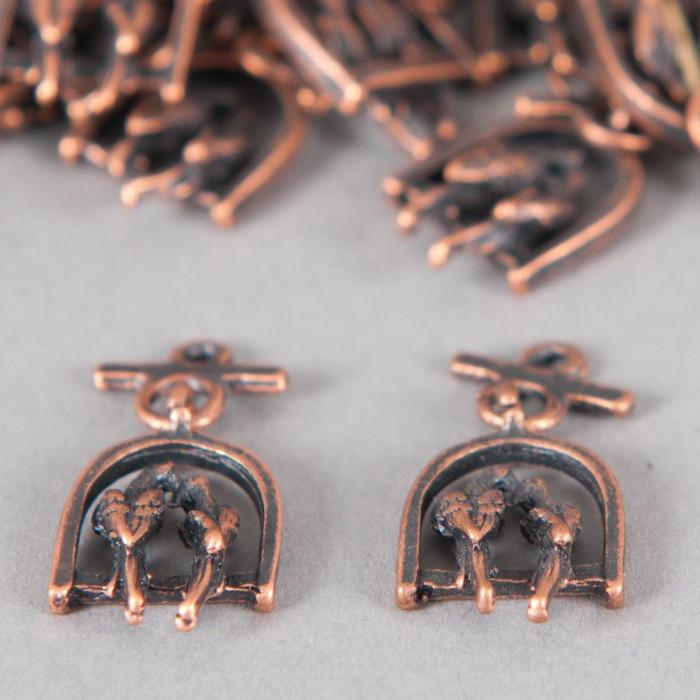 Breloque oiseaux sur perchoir 23mm cuivre x1