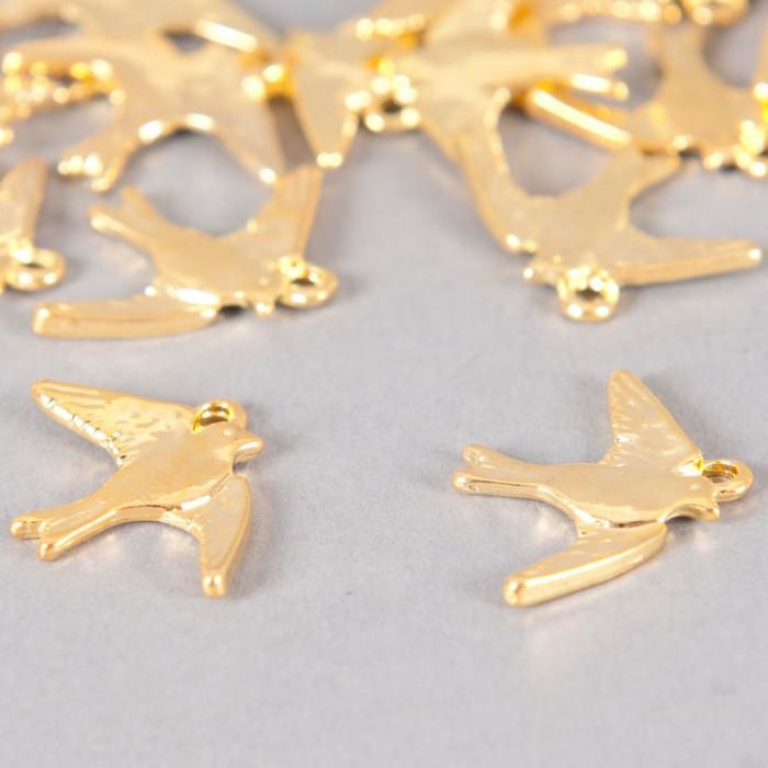 Breloque oiseaux 17mm dorée x1
