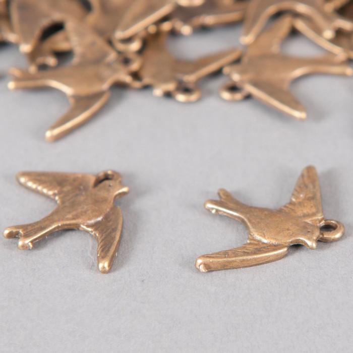 Breloque oiseaux 17mm bronze x1