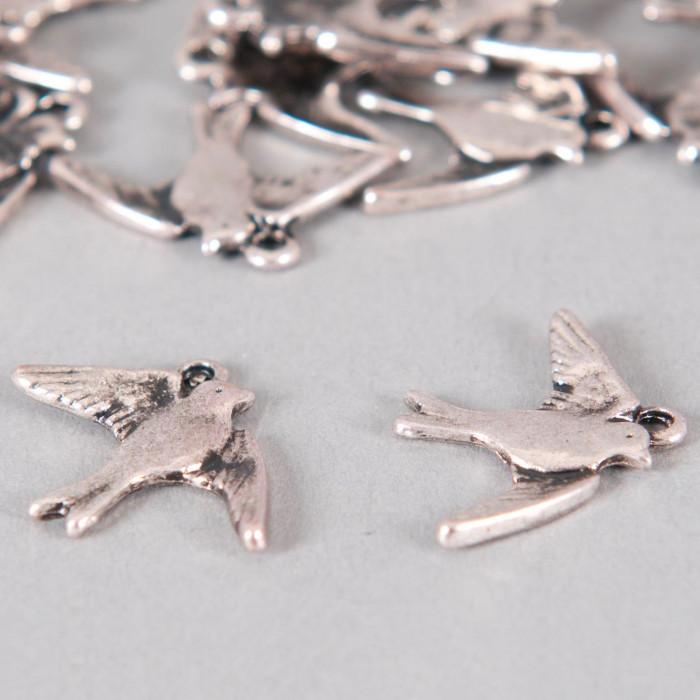 Breloque oiseaux 17mm argent vieilli x1