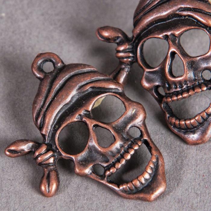 Breloque tête de mort pirate 27mm cuivre x1