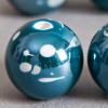 Perle en céramique à motifs ronde Vert / Bleu foncé 20mm x1