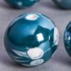 Perle en céramique à motifs ronde Vert / Bleu foncé 16mm x1