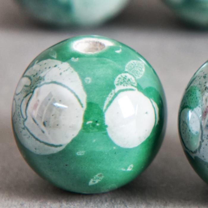Perle en céramique à motifs ronde vert 20mm x1