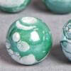 Perle en céramique à motifs ronde vert 12mm x1
