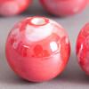 Perle en céramique à motifs ronde rouge 16mm x1