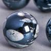 Perle en céramique à motifs ronde noir 16mm x1