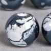 Perle en céramique à motifs ronde noir 12mm x1